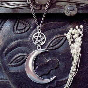 Silver Pentagram Crescent Moon Drop Earrings